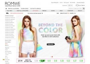 Скриншот сайта Romwe.com